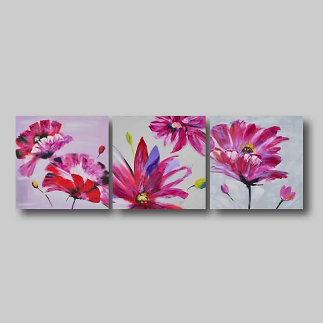 Oil Painting Hand Painted - Abstract Abstract Landscape Comtemporary Modern Stretched Canvas Pink Flowers