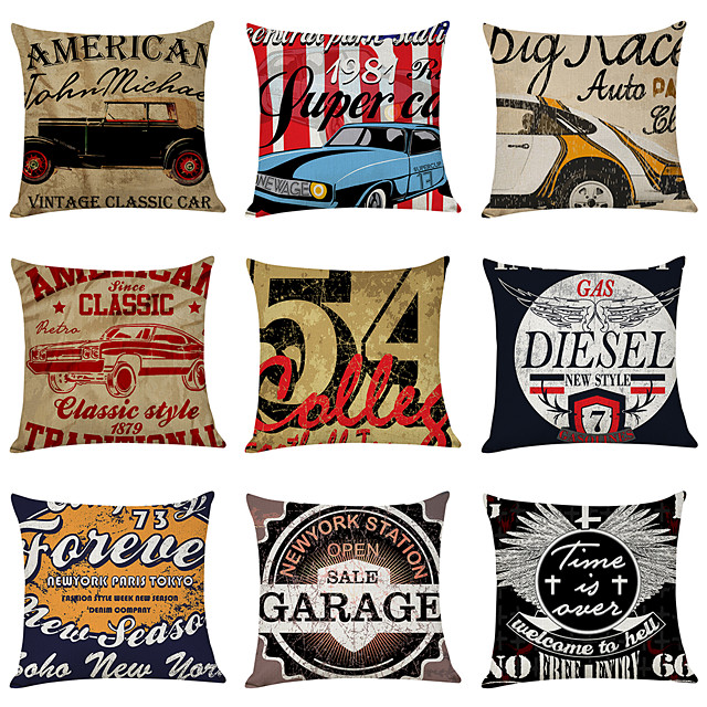 9 pcs Linen Pillow Cover, Nostalgic North American Style Casual Modern Square Traditional Classic