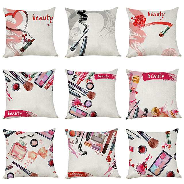 9 pcs Linen Pillow Cover, Beauty Fashion Modern Square Traditional Classic
