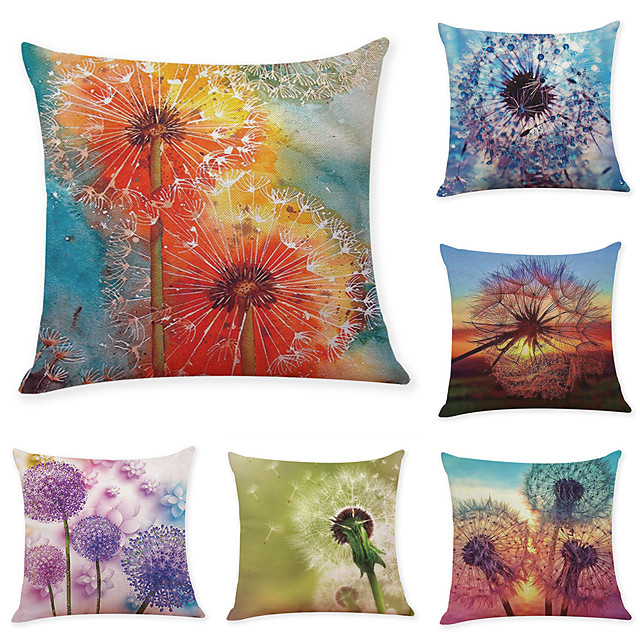 6 Pcs Linen Pillow Cover Creative Dandelion Linen Pillow Case Car Pillow Cushion Sofa Pillow Pillow Office Nap Pillow