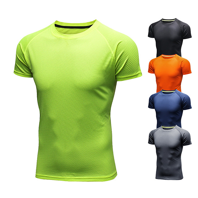 Men's Running T-Shirt Short Sleeve Ice Silk Breathable Quick Dry Moisture Wicking Fitness Gym Workout Running Walking Jogging Sportswear Solid Colored Tee Tshirt Black Orange Green Navy Blue Gray