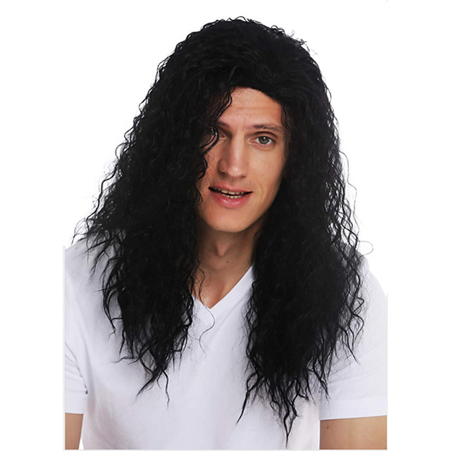 Synthetic Wig Toupees Hippie Curly Middle Part Wig Long Black Synthetic Hair 28 inch Men's Synthetic Middle Part African American Wig Black hairjoy