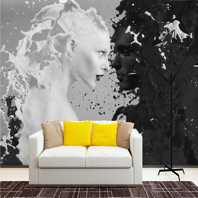Custom Self-adhesive Mural Black and White Portrait is Suitable for Background Wall Coffee Shop Hotel Wall Decoration Art  Room Wallcovering
