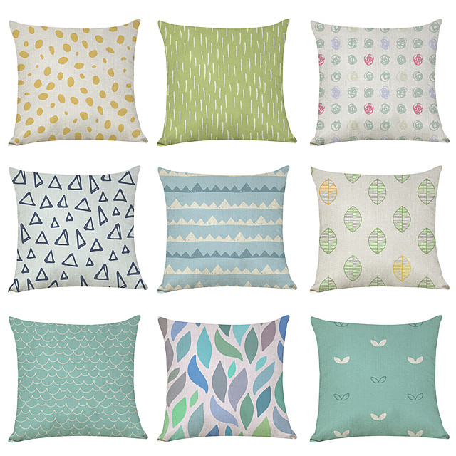 9 pcs Linen Pillow Cover, Fresh Style Pattern Geometric Geometic Casual Modern Square Traditional Classic