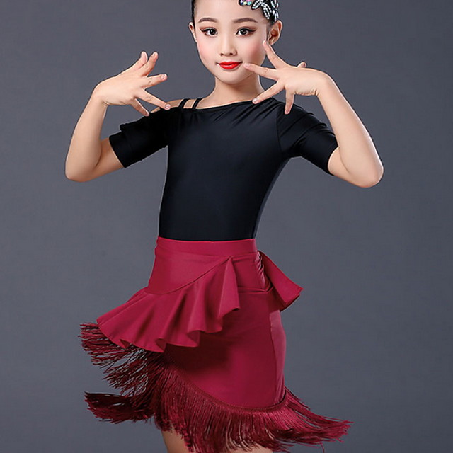 Latin Dance Skirts Pleats Girls' Training Daily Wear Polyester