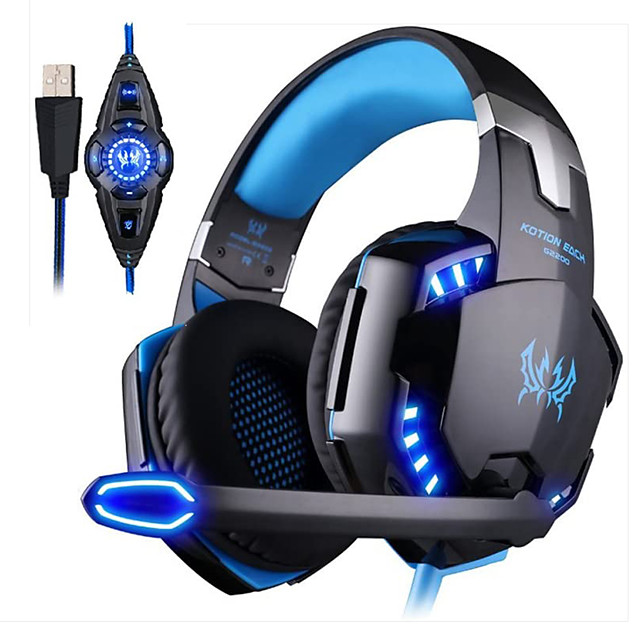 KOTION EACH G2200 Gaming Headphone 7.1 Surround Vibrator Stereo Computer USB Headsets Headphones LED with Microphone for PC