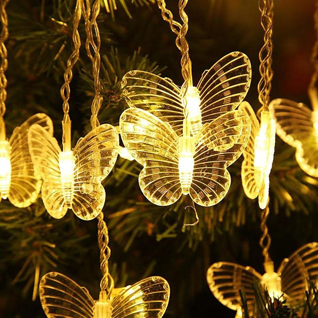4m Icicle Curtain String Lights 96 LEDs Dip Led 18 Butterfly Lights 1 set Warm White White Red Halloween Christmas Party Decorative Linkable 220-240 V