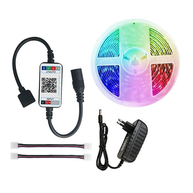 LED Strip Light RGB 5050 300 leds light strip RGB 5M  bluetooth Music Remote Adapter 12V 3A