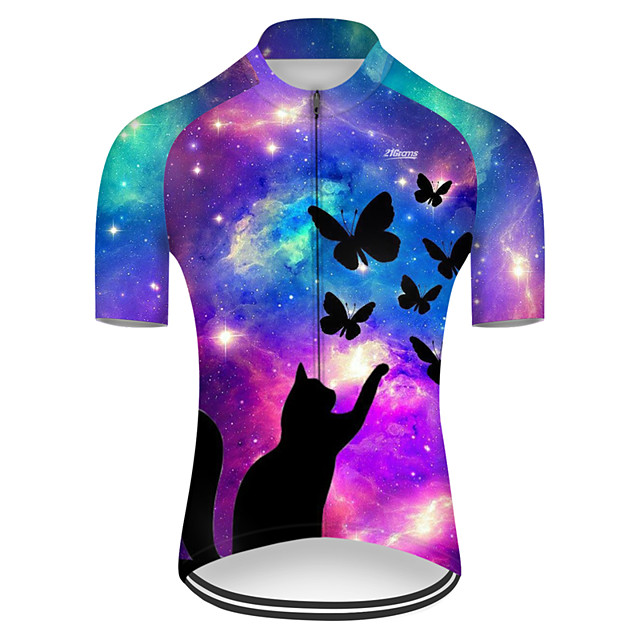 21Grams Men's Short Sleeve Cycling Jersey Nylon Polyester Violet Cat Butterfly Animal Bike Jersey Top Mountain Bike MTB Road Bike Cycling Breathable Quick Dry Ultraviolet Resistant Sports Clothing