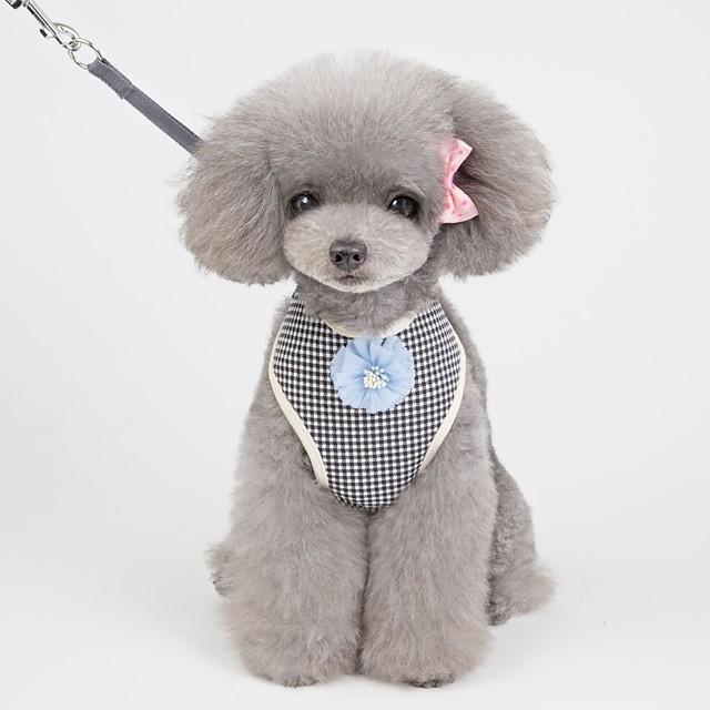 Dog Harness Leash Vest Soft Extra Long Adjustable Flexible Durable Escape Proof Outdoor Walking Plaid / Check Flower Cotton Corgi Shiba Inu Small Dog Black / White Black 1 set