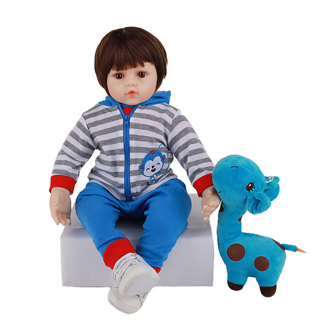 FeelWind 18 inch Reborn Doll Baby & Toddler Toy Reborn Toddler Doll Baby Boy Gift Cute Lovely Parent-Child Interaction Tipped and Sealed Nails Full Body Silicone LV072 with Clothes and Accessories