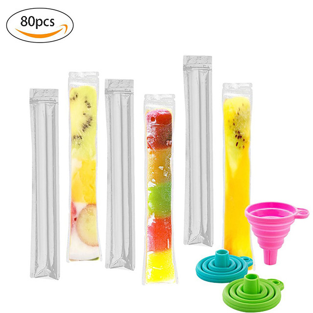 80pcs/Pack Plastic FDA Popsicles Molds Freezer Bags Ice Cream Pop Making Mould DIY Yogurt Summer Drinks Kids Hand Crafts