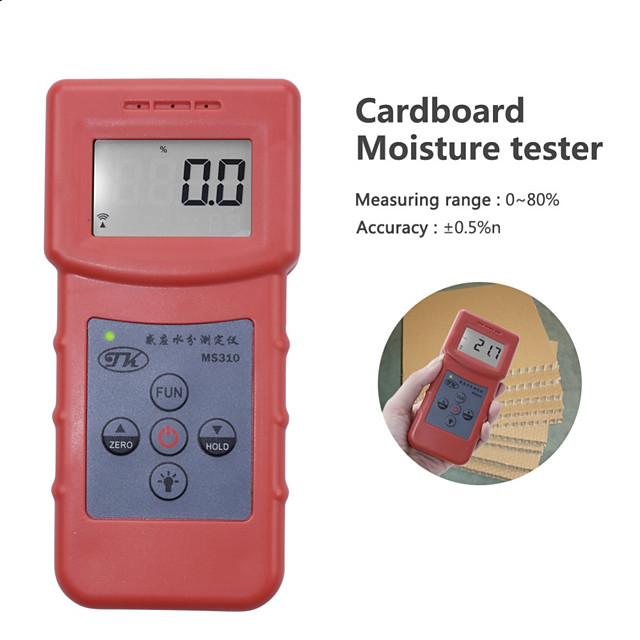 MS310 Inductive Moisture Analyzer Tester Wood Moisture Meter For Wood Lumber Timber Paper Bamboo Carton Concrete Metope