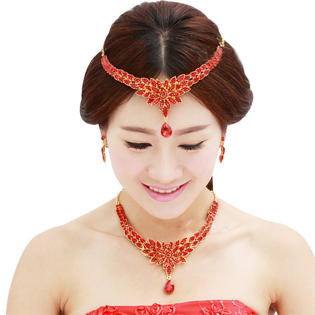 Women's Crystal Bridal Jewelry Sets Transparent Flower Elegant Vintage Earrings Jewelry White / Red For Wedding Party 1 set