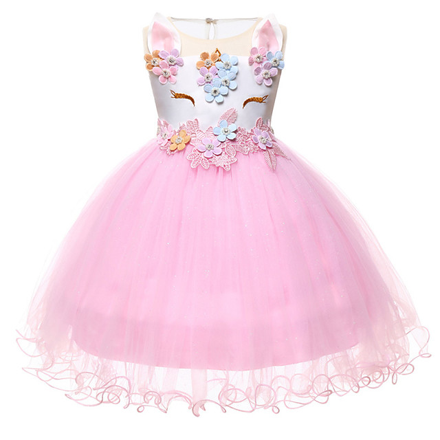 Princess Unicorn Outfits Flower Girl Dress Girls' Movie Cosplay A-Line Slip White / Purple / Pink Dress Children's Day Masquerade Polyester