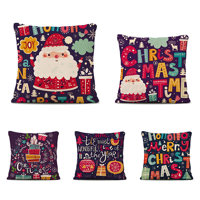 Set of 5 Christmas Tree Linen Square Decorative Throw Pillow Cases Sofa Cushion Covers