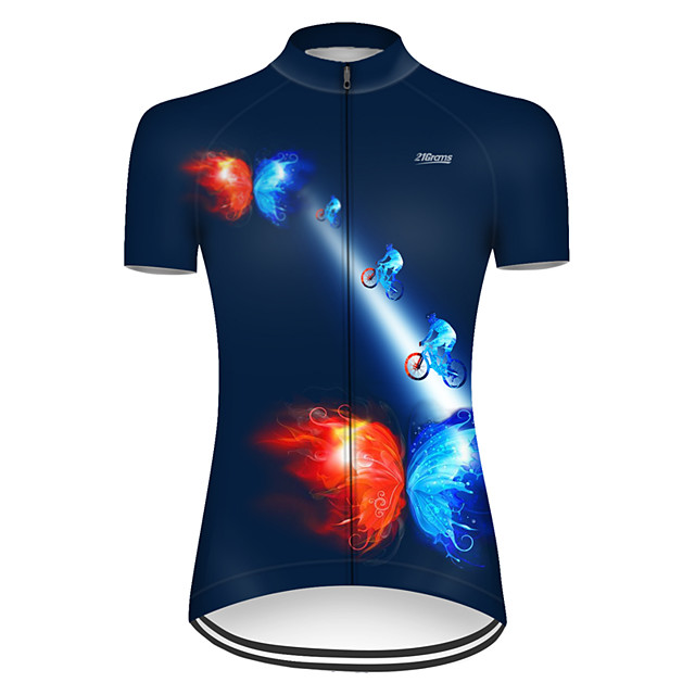 21Grams Women's Short Sleeve Cycling Jersey Nylon Polyester Red+Blue Butterfly Gradient Bike Jersey Top Mountain Bike MTB Road Bike Cycling Breathable Quick Dry Ultraviolet Resistant Sports Clothing