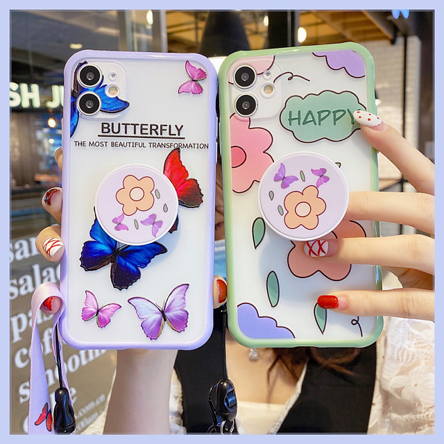 Ring Holder with Strap TPU Flower Protection Cover for Apple iPhone Case 11 Pro Max X XR XS Max 8 Plus 7 Plus SE(2020)