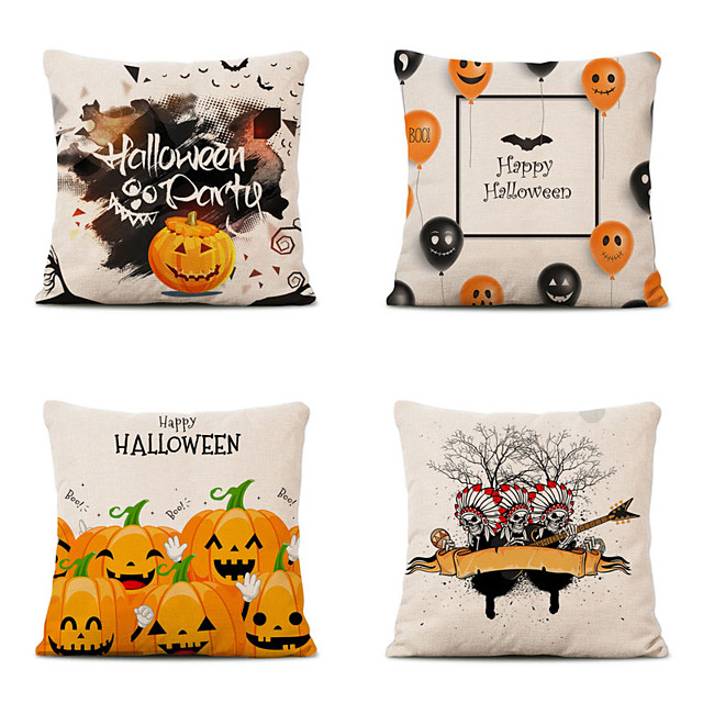 Set of 4 Halloween Party Linen Square Decorative Throw Pillow Cases Sofa Cushion Covers 18x18