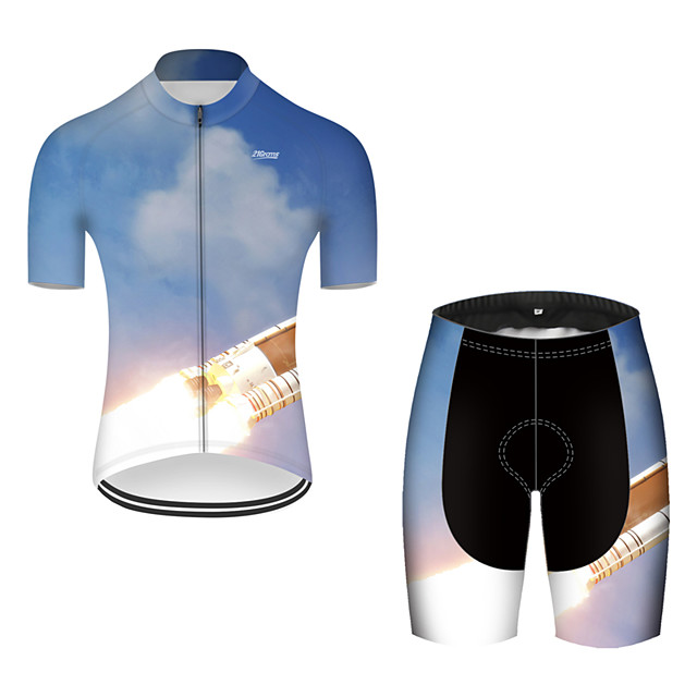 21Grams Men's Short Sleeve Cycling Jersey with Shorts Nylon Polyester Black / Blue 3D Gradient Rocket Bike Clothing Suit Breathable 3D Pad Quick Dry Ultraviolet Resistant Reflective Strips Sports 3D