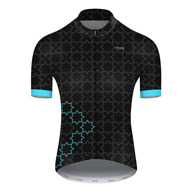 21Grams Men's Short Sleeve Cycling Jersey Nylon Polyester Black / Blue Plaid Checkered Patchwork Bike Jersey Top Mountain Bike MTB Road Bike Cycling Breathable Quick Dry Ultraviolet Resistant Sports