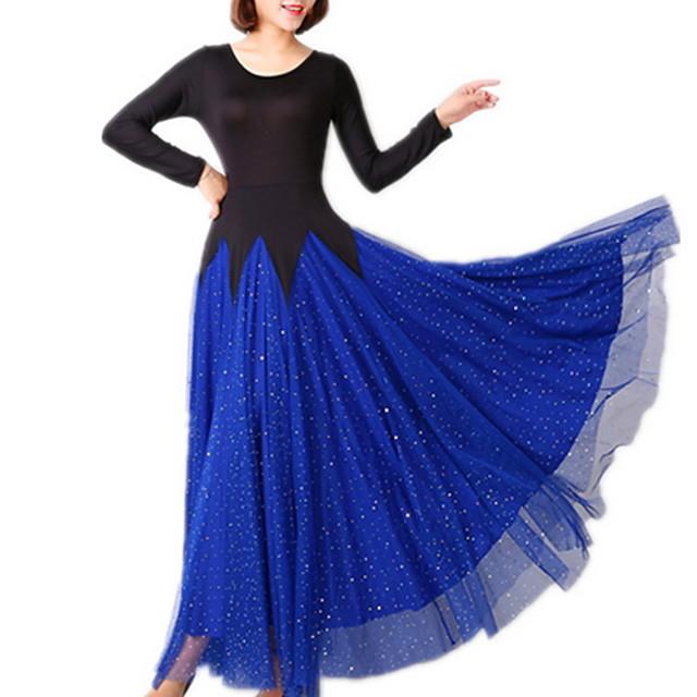 Ballroom Dance Dress Pleats Paillette Women's Training Performance Long Sleeve Polyester