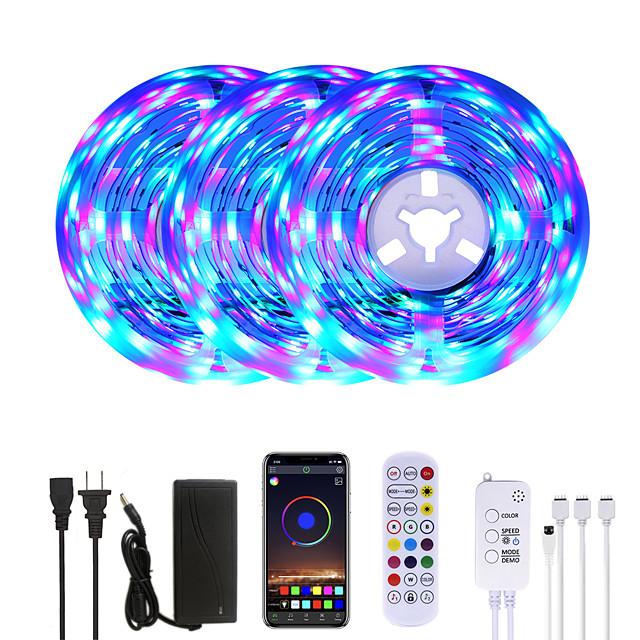 MASHANG 15M(3*5M) RGB LED Strip Lights Music Sync Smart LED Lights Tiktok Lights 900LEDs SMD 2835 Color Changing with 24 keys Remote Bluetooth Controller for Home Bedroom TV Back Lights DIY Deco
