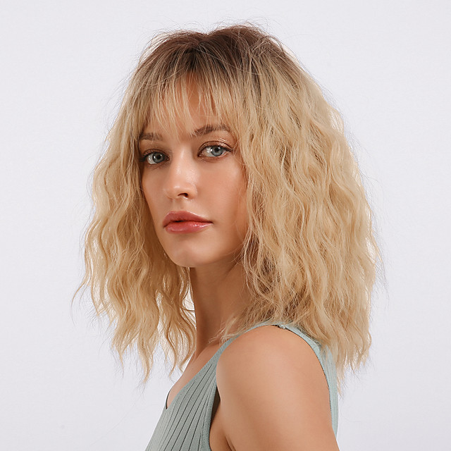 Synthetic Wig Bangs Curly Loose Curl Neat Bang With Bangs Wig Medium Length Ombre Blonde Synthetic Hair 18 inch Women's Cosplay Women Synthetic Blonde Ombre HAIR CUBE