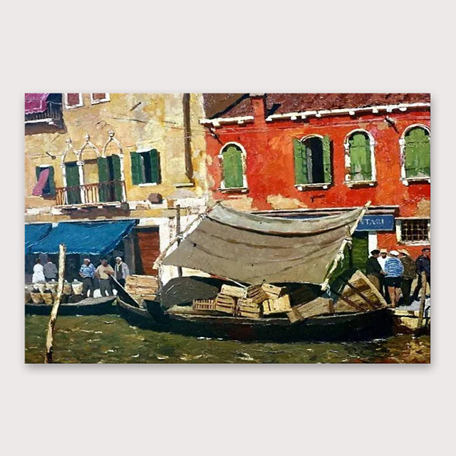 IARTS®Hand Painted Little harbour Oil Painting   with Stretched Frame For Home Decoration