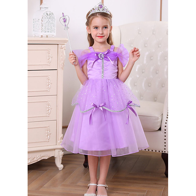 Princess Belle Rapunzel Dress Flower Girl Dress Girls' Movie Cosplay A-Line Slip Purple Dress Halloween Children's Day Masquerade Polyester