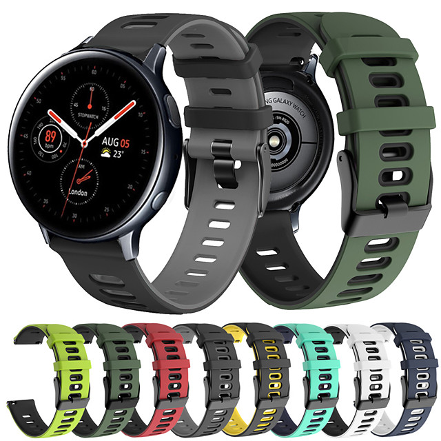 Sport Silicone Wrist Strap Watch Band for Samsung Galaxy Watch 42mm / Galaxy Active 2 40mm 44mm / Active 40mm / Gear S2 Classic / Gear Sport Replaceable Bracelet Wristband