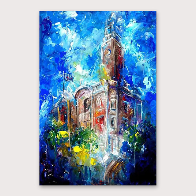 IARTS®Hand Painted Building building Oil Painting with Stretched Frame For Home Decoration With Stretched Frame
