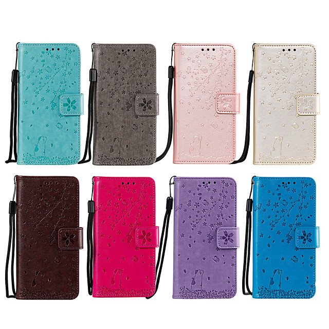 Case For Nokia Nokia 2.2 Card Holder / Flip / Pattern Full Body Cases Heart / Flower PU Leather / TPU
