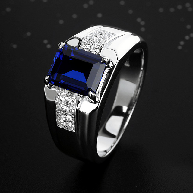 Men's Ring Promise Ring Cubic Zirconia 1pc Blue Alloy Cuboid Stylish Vintage Party Engagement Jewelry Cool