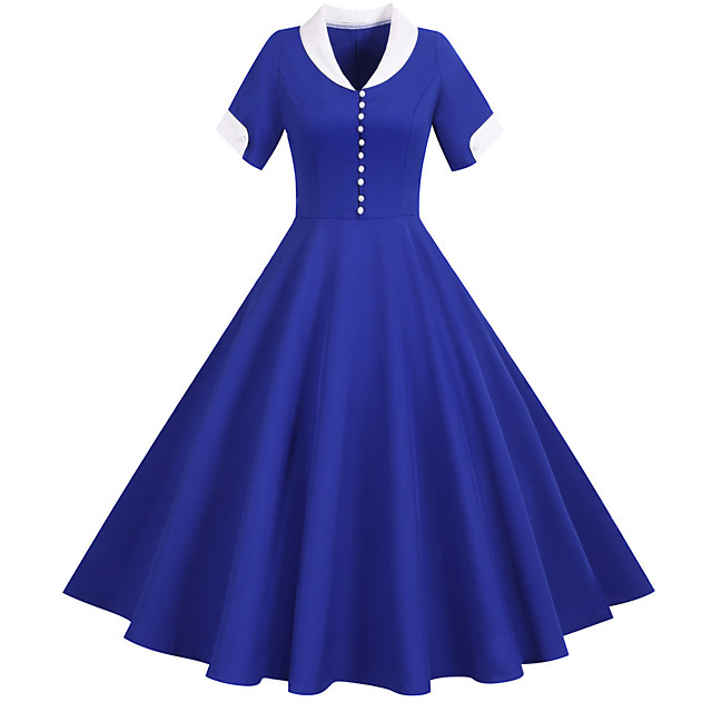 Vintage Inspired Dress Women's Buckle Costume Light Sky Blue / Yellow / Blushing Pink Vintage Cosplay Home Short Sleeve Midi A-Line