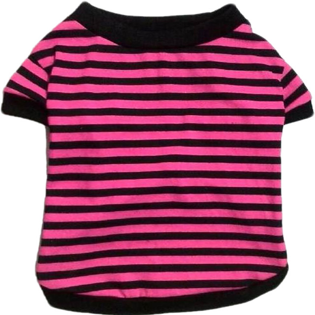 Dog Cat Costume T-shirts Stripes Simple Style Casual / Sporty Sports Casual / Daily Dog Clothes Breathable Yellow Red Blue Costume Cotton XS S M L XL