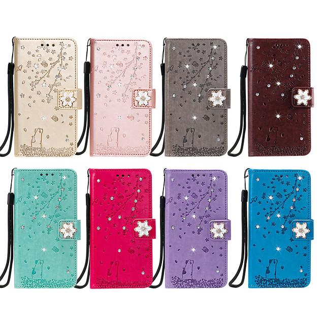 Case For Nokia Nokia 2.2 Card Holder / Flip / Pattern Full Body Cases Glitter Shine / Flower PU Leather / TPU