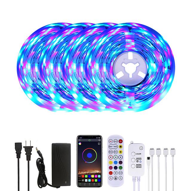 20M LED Strip Lights RGB LED Light Strip Music Sync 1200LEDs LED Strip 2835 SMD Color Changing LED Strip Light Bluetooth Controller and 24 Key Remote LED Lights for Bedroom Home Party