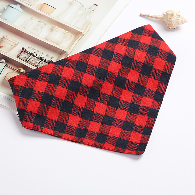 Dog Cat Bandanas & Hats Dog Bandana Dog Bibs Scarf Plaid / Check Casual / Sporty Cute Party Sports Dog Clothes Adjustable Black Red Blue Costume Cotton S M