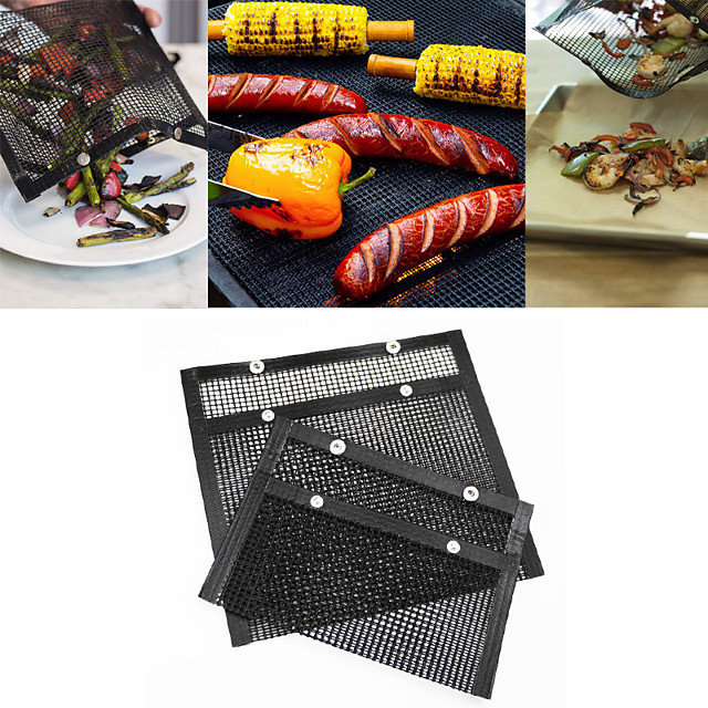 Non-Stick BBQ Baked Grilling Bags 2Pcs Heat-Resistant Reusable Easy to Clean Mesh Backing Bag for Outdoor Picnic Cooking Barbecue