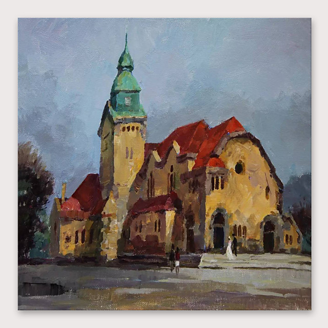 IARTS Hand Painted Village Oil Painting with Stretched Frame For Home Decoration With Stretched Frame