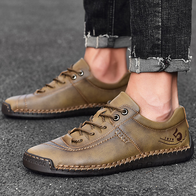 Men's Summer / Fall Business / Casual / Vintage Daily Office & Career Oxfords Nappa Leather Breathable Wear Proof Black / Khaki / Brown