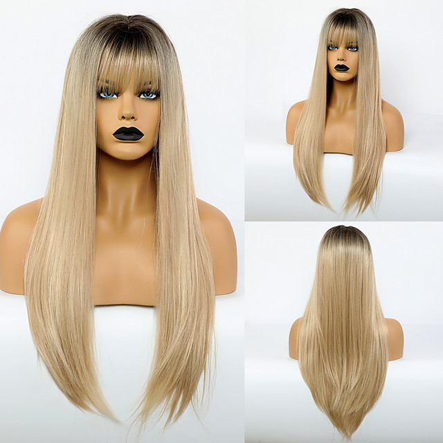 Synthetic Wig Natural Straight Neat Bang Wig Very Long Light golden Synthetic Hair 28 inch Women's Simple Fashionable Design Women Blonde