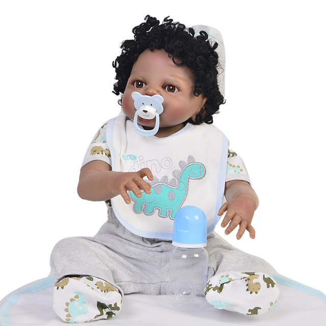 KEIUMI 22 inch Black Dolls Reborn Doll Baby & Toddler Toy Reborn Toddler Doll Baby Boy Gift Cute Washable Lovely Parent-Child Interaction Full Body Silicone 23D39-C214 with Clothes and Accessories