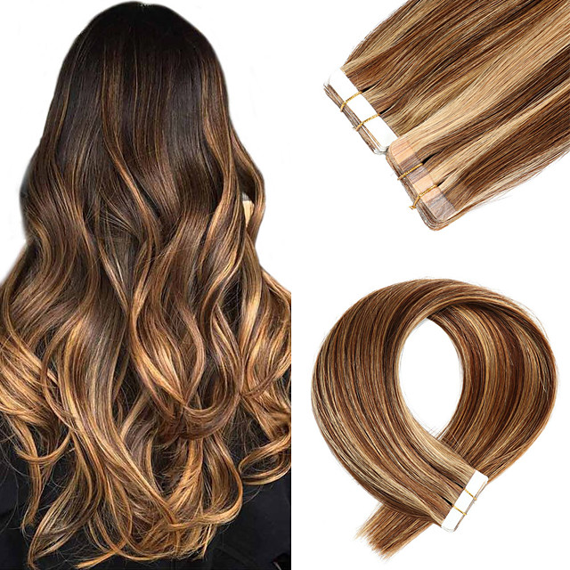Tapes Hair Extensions Remy Human Hair 20pcs Pack Straight Hair Extensions