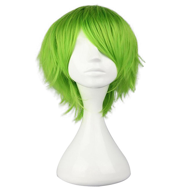 Cosplay Costume Wig Synthetic Wig Toupees Curly Cosplay Layered Haircut Wig Short Light Brown Silver grey Green Yellow Synthetic Hair 10 inch Men's Synthetic Youth Green hairjoy