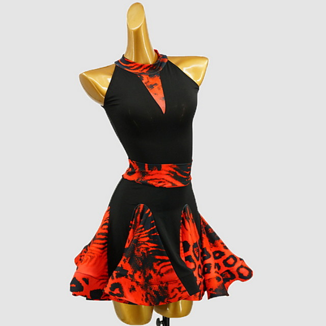 Latin Dance Dress Pattern / Print Girls' Training Daily Wear Sleeveless Cotton