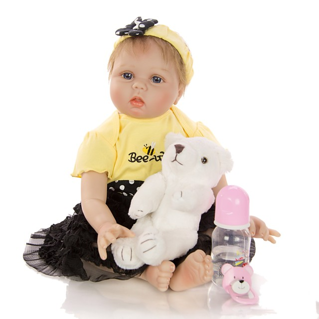 KEIUMI 22 inch Reborn Doll Baby & Toddler Toy Reborn Toddler Doll Baby Girl Gift Cute Lovely Parent-Child Interaction Tipped and Sealed Nails Half Silicone and Cloth Body with Clothes and Accessories