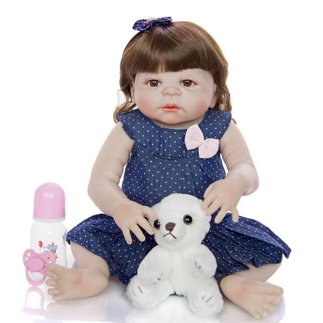 KEIUMI 22 inch Reborn Doll Baby & Toddler Toy Reborn Toddler Doll Baby Girl Gift Cute Washable Lovely Parent-Child Interaction Full Body Silicone 23D09-C330-H86-T19 with Clothes and Accessories for