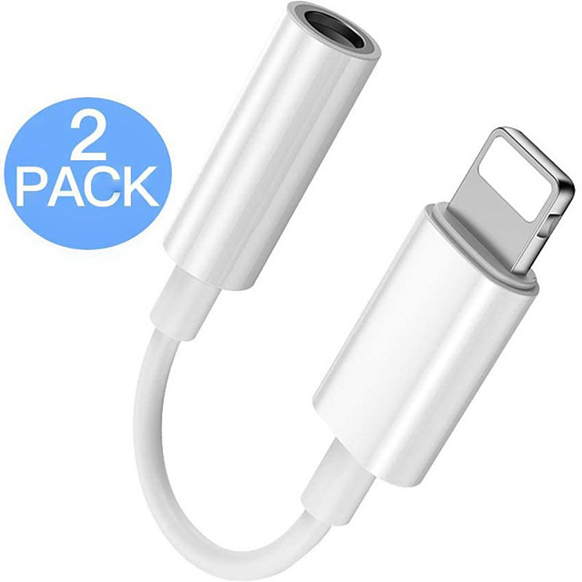 2 Pack Lightning to 3.5 mm Headphone Jack Adapter Connector Aux Audio Headphone Dongle Stereo Cable for iPhone Support iOS 13